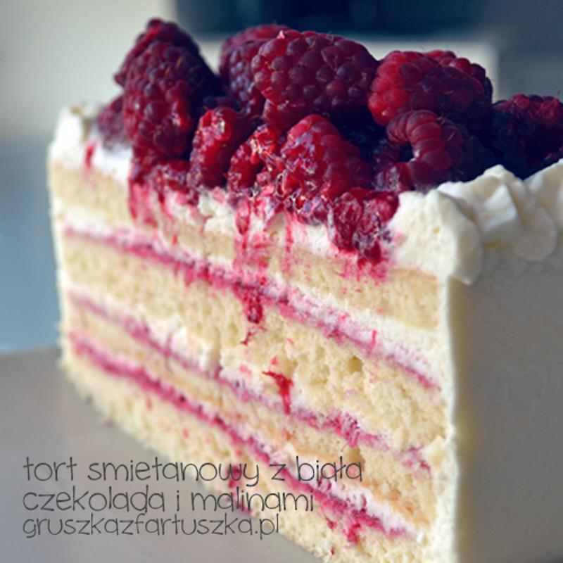 tort śmietanowy z białą czekoladą i malinami