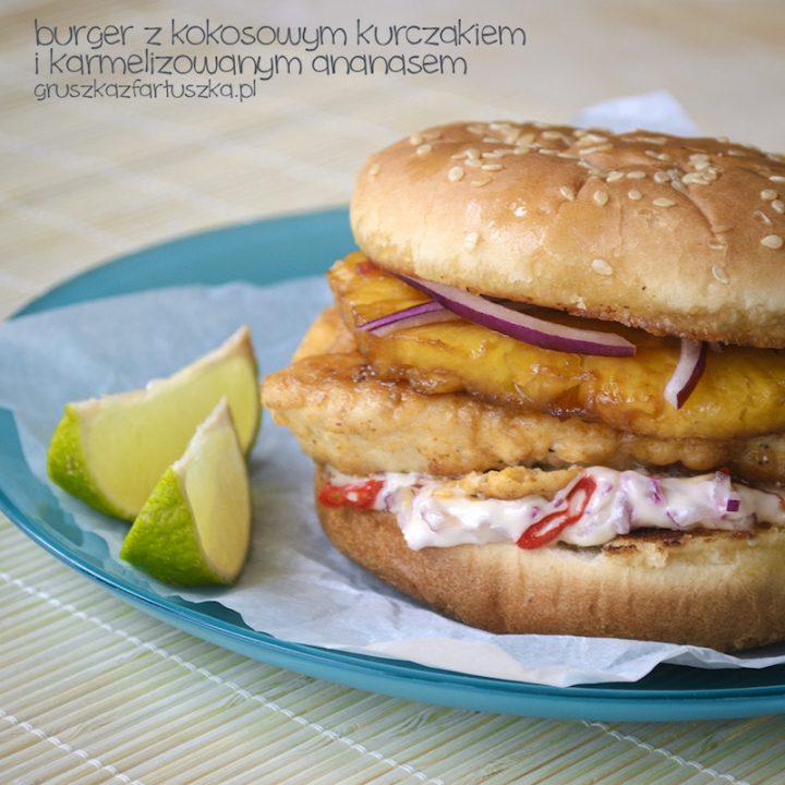 burger z kokosowym kurczakiem i karmelizowanym ananasem