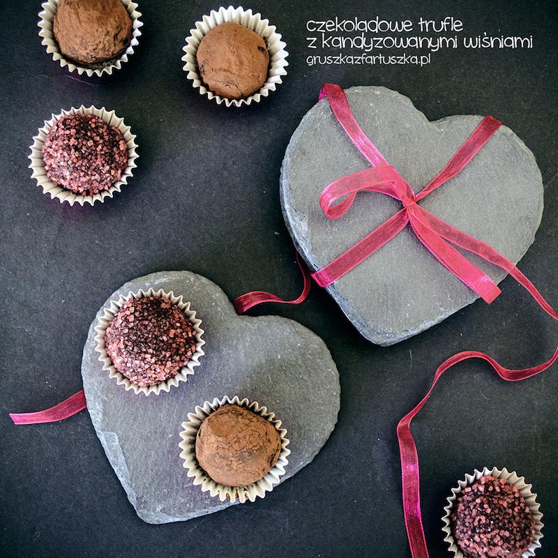 czekoladowe trufle z kandyzowanymi wiśniami