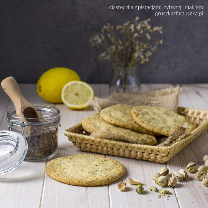 ciasteczka z pistacjami, cytryną i makiem