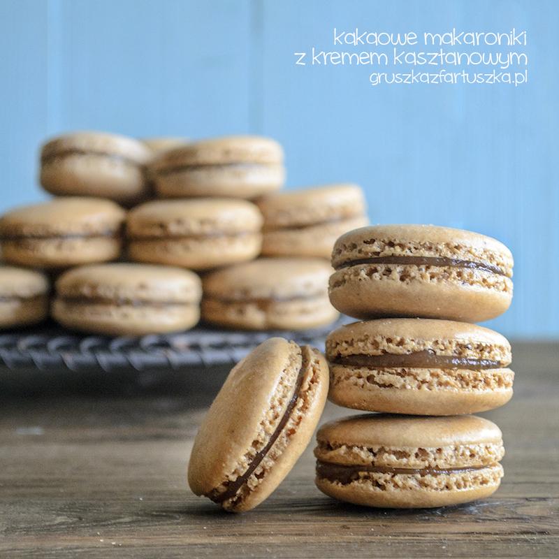 kakaowe makaroniki z kremem kasztanowym