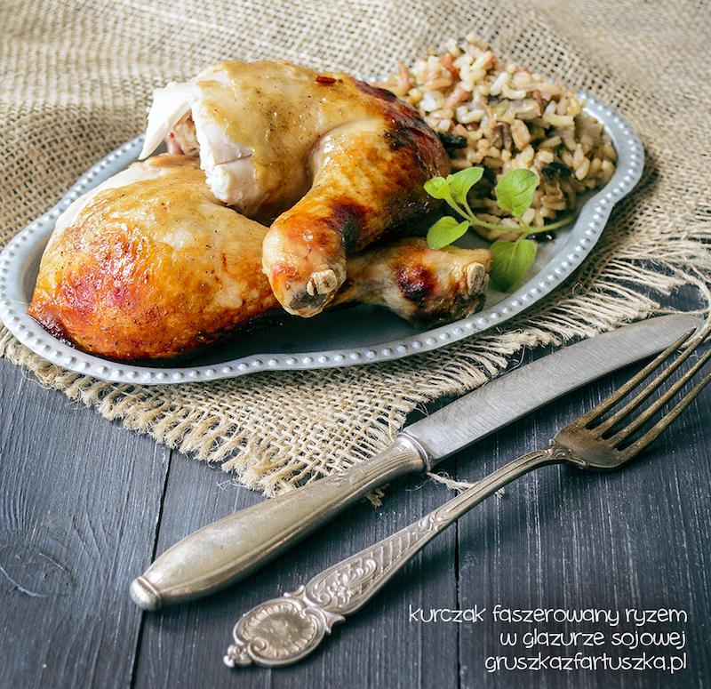kurczak faszerowany ryżem w glazurze sojowej