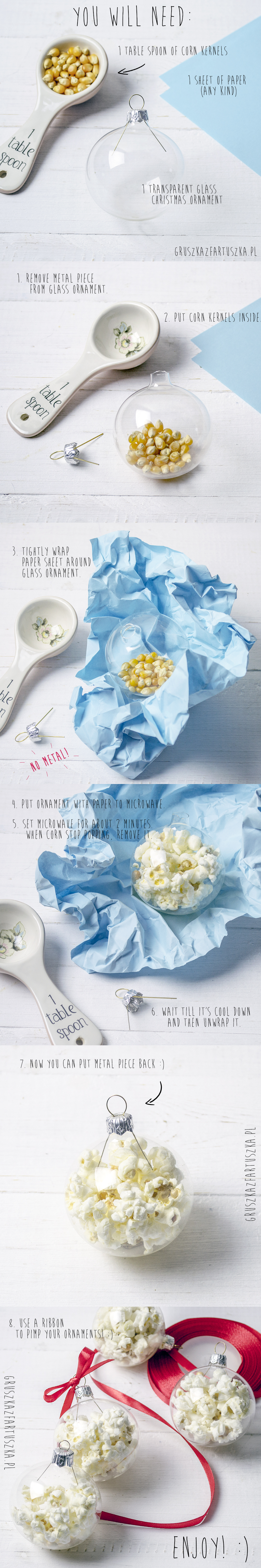 popcorn ornaments tutorial