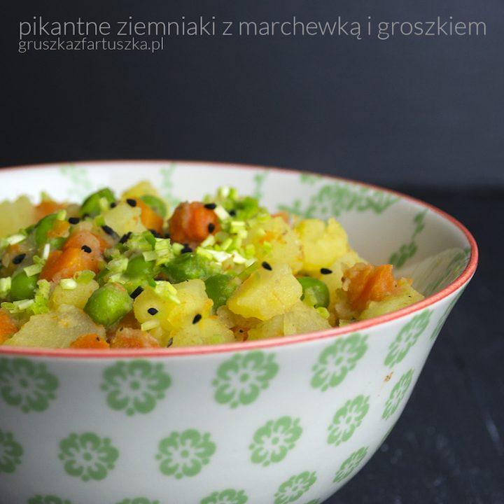 pikantne ziemniaki z marchewką i groszkiem
