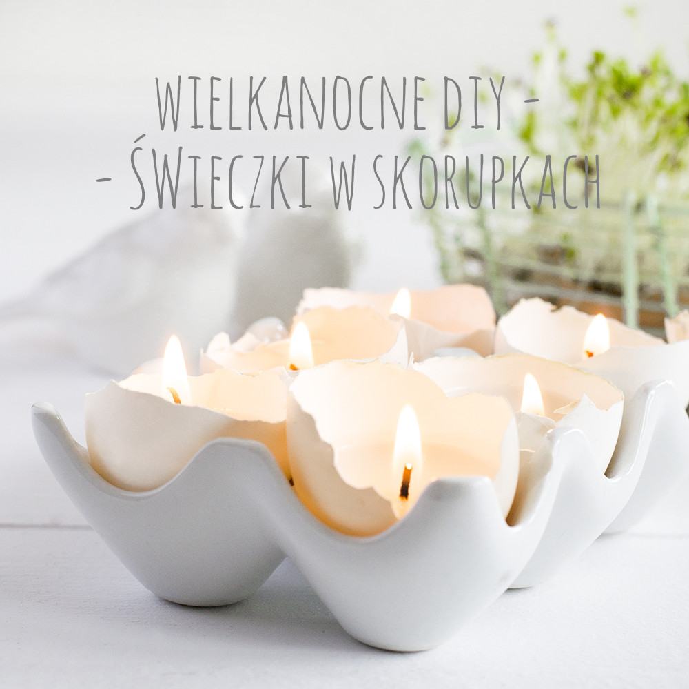 easter eggshells candles text