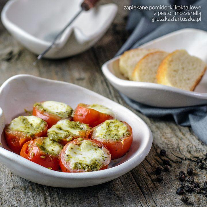 zapiekane pomidorki koktajlowe z pesto i mozzarellą