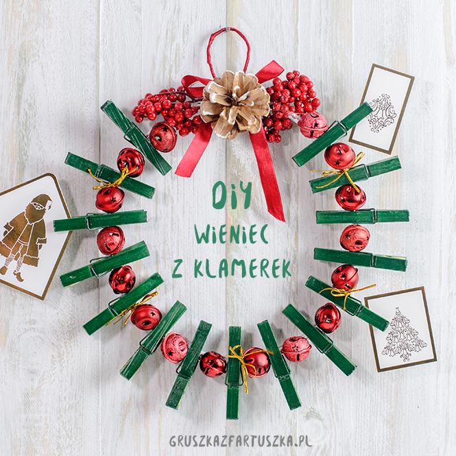 DIY - świąteczny wieniec z klamerek