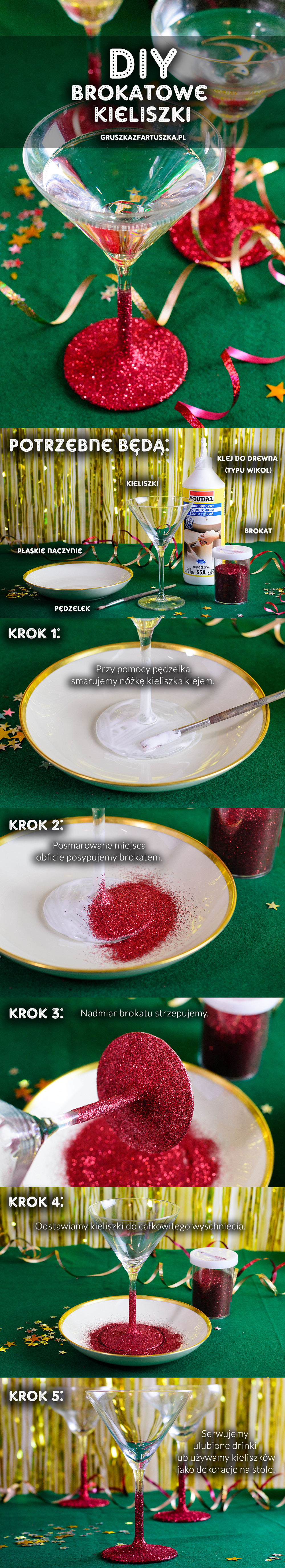 brokatowe kieliszki DIY