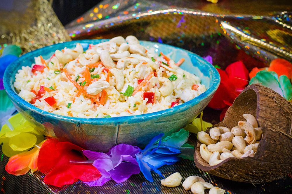 kokosowy ryż z kurczakiem i warzywami