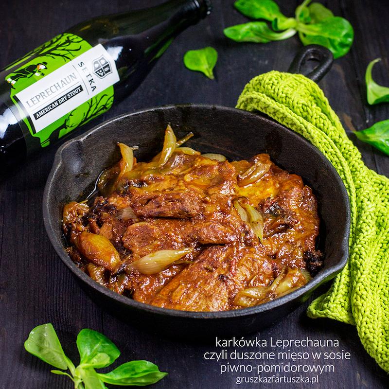 #gruszkawpiwie - karkówka Leprechauna czyli duszone mięso w sosie piwno-pomidorowym