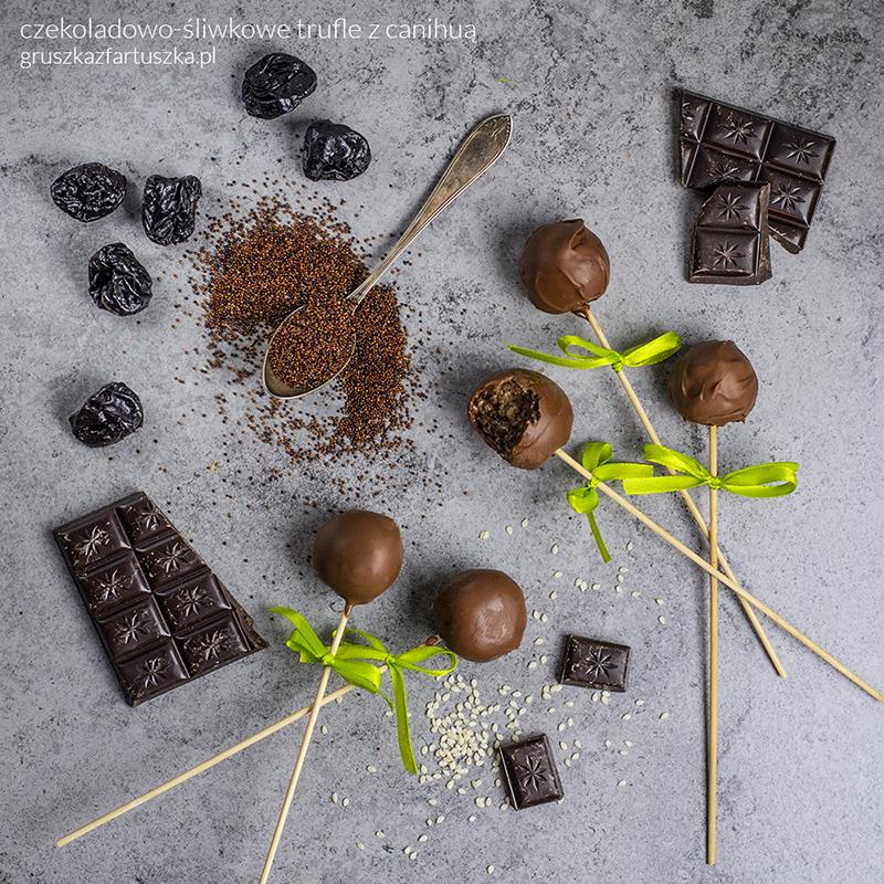 czekoladowo-śliwkowe trufle z canihuą