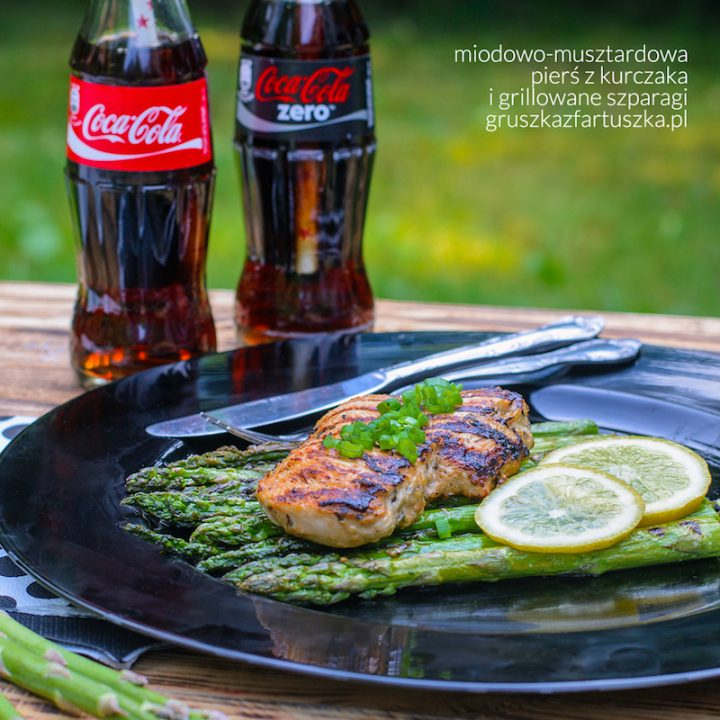 miodowo-musztardowa pierś z kurczaka i grillowane szparagi