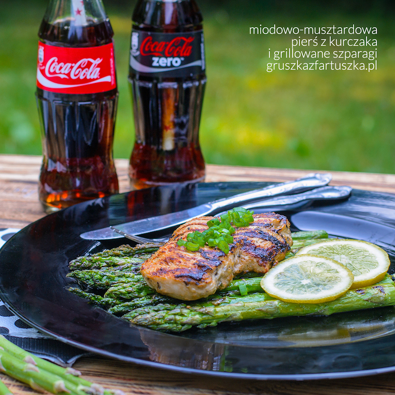miodowo musztardowa pierś z kurczaka i grillowane szparagi
