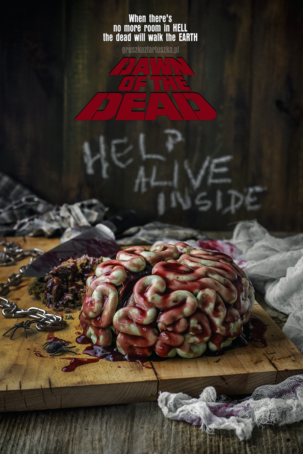 dawn of the dead zombie brain cake
