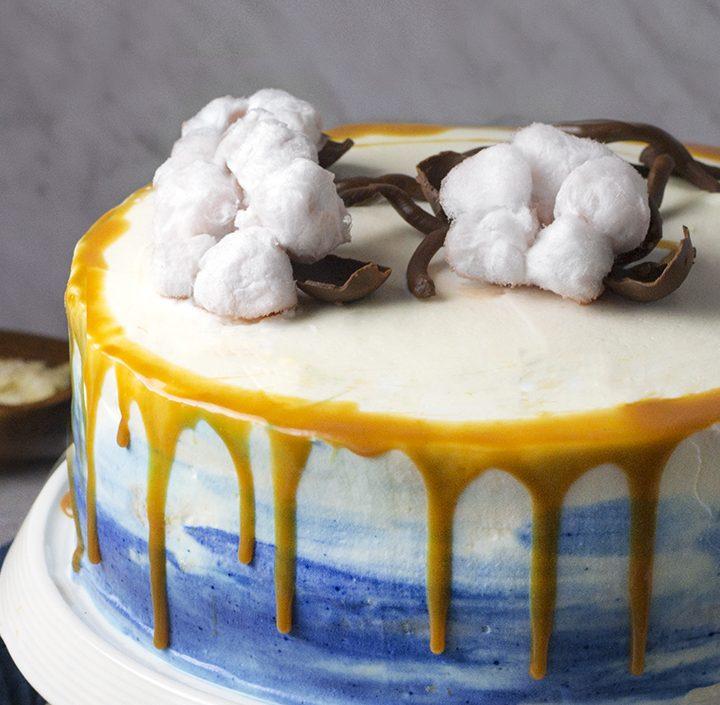 #greeninspiracje - migdałowy tort z polewą z irysów i
