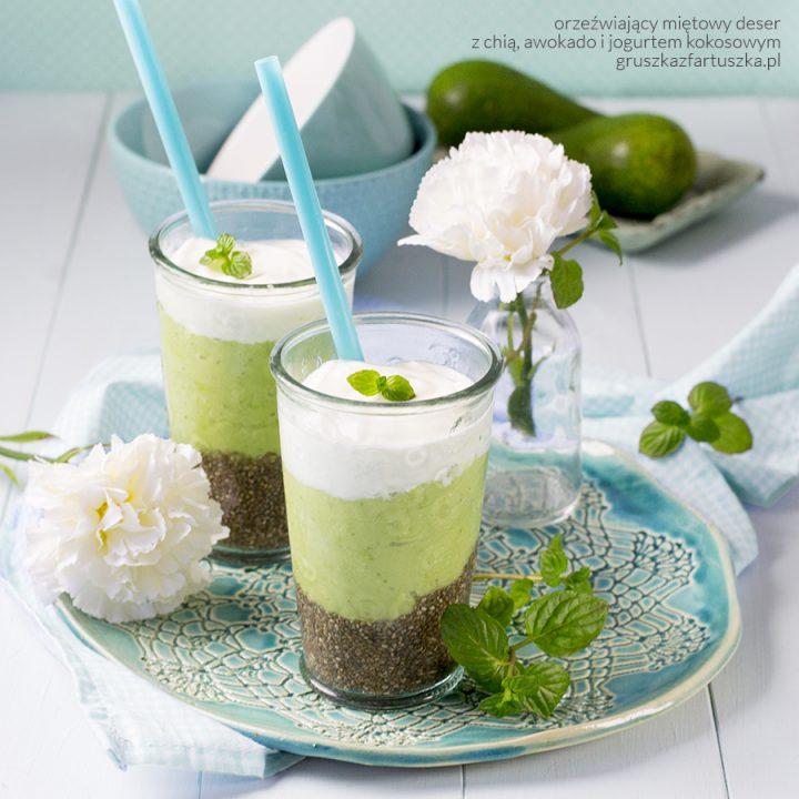 miętowe orzeźwienie czyli deser z chią, awokado i jogurtem kokosowym