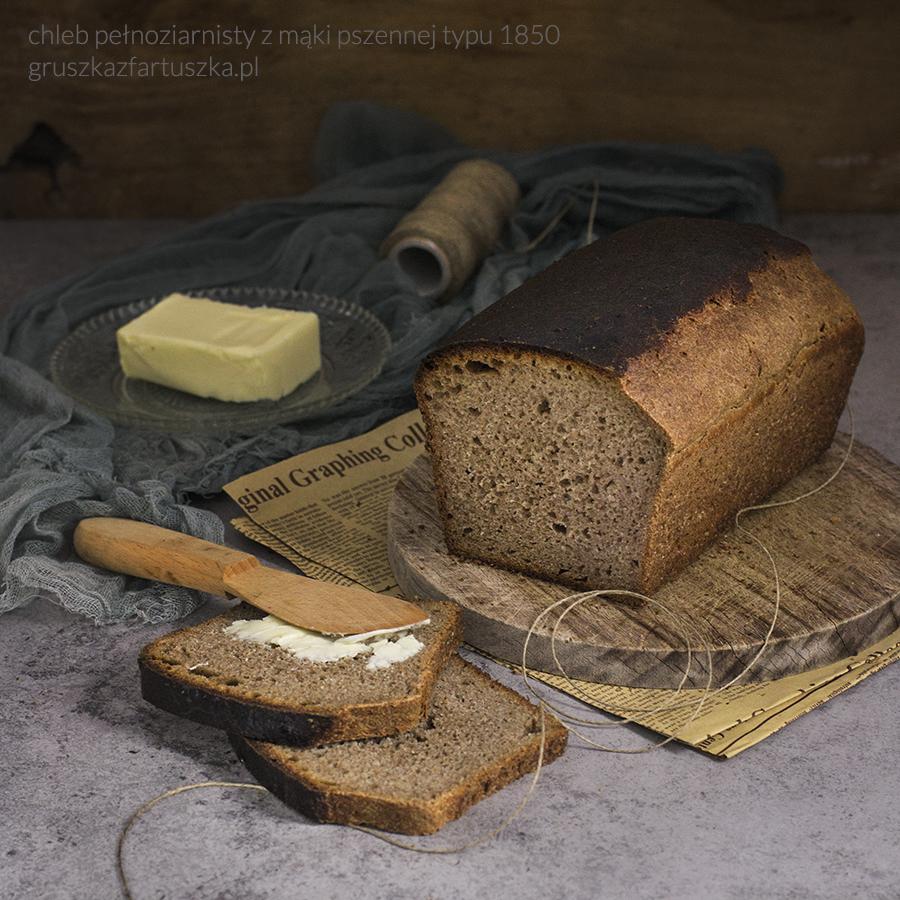chleb pełnoziarnisty z mąki pszennej typ 1850